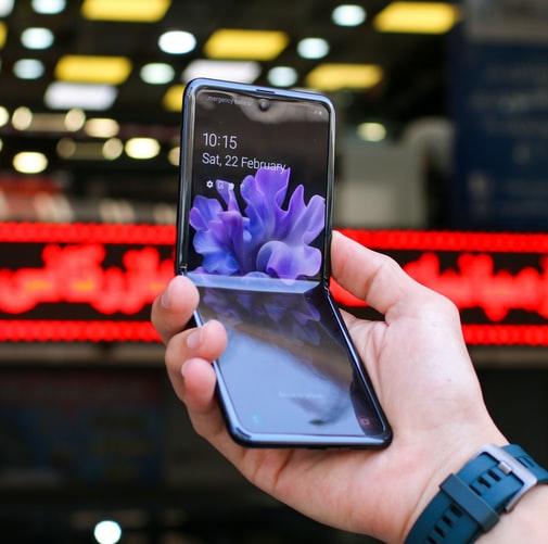 The Samsung Galaxy Z Flip with slightly folded screen