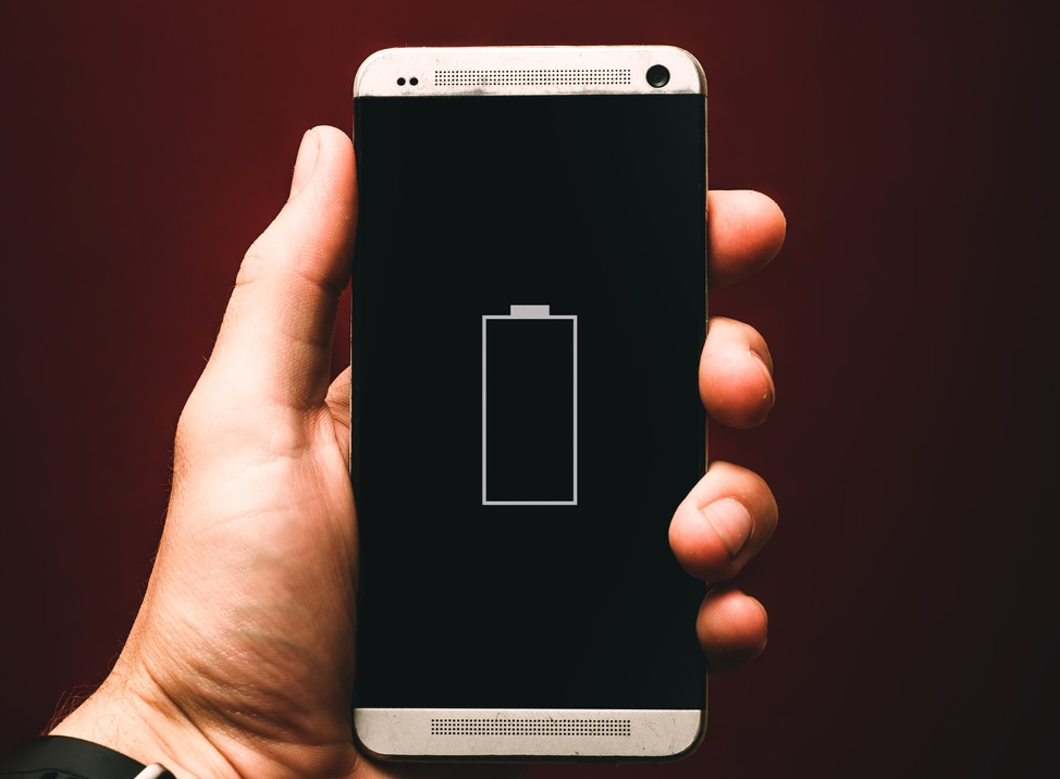 Phone with battery symbol