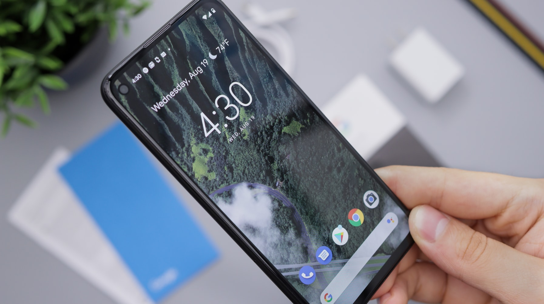 Someone holding a Google Pixel phone