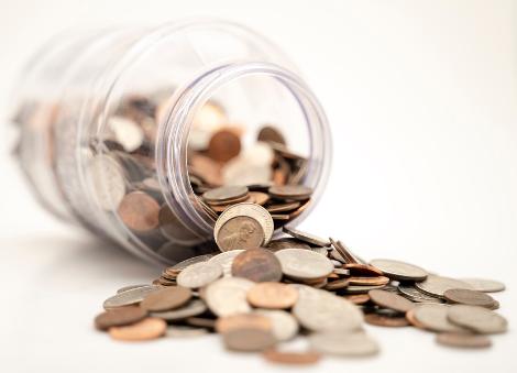 Money jar with money inside