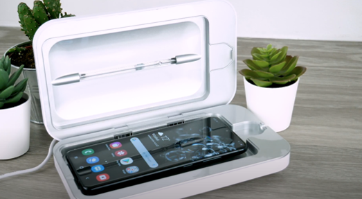 Phonesoap device with a phone